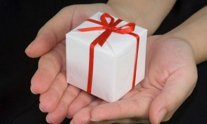 a gift in hands